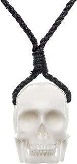 81stgeneration Women's Men's Handcarved Bone White Skull Head Carved Charm Pendant Necklace