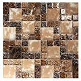 French Pattern Dark Brown Mosaic Glass Tile with Marble, Cracked and...
