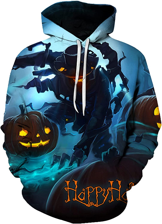 HONGJ Halloween Hoodies for Mens, 3D Funny Pumpkin Jack-o-Lantern Bat Print Hooded Sweatshirts Casual Novelty Pullover