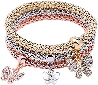 MEIDIJINGBEI 3PCS Gold/Silver/Rose Gold Corn Chain Crystal Charms Multilayer Bracelets for Women