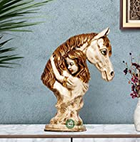 """Karigar Shop 14"""" Handmade Horse Lover Statue Stone Finish Animal Figurines Gifts Antique Design for Home Decoration,..."""