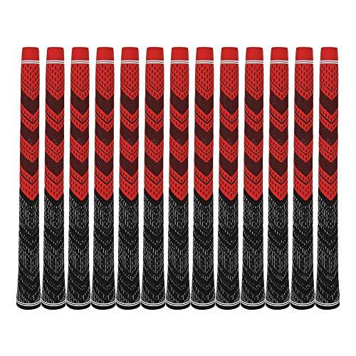SOULONG 13 Stück Golfschläger-Griffabdeckung, langlebig, Ultraleicht, Gummi-Griff-Abdeckung, Rot/Schwarz