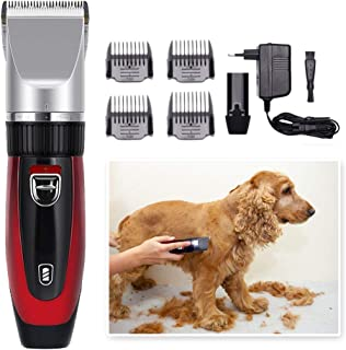 Dog Grooming Clippers, Cordless Dog Grooming Clippers Low Noise,Quiet Rechargeable Pet Hair Trimmer,Professional Dog Groom...