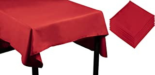 Juvale Red Rectangle Tablecloth - 60 x 102-Inch Rectangular Polyester Table Cloth, Washable, Perfect for 6-Foot Buffet or Long Picnic Table, Includes 6 Matching Cloth Napkins