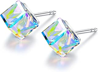 S925 Sterling Silver Earrings for Women Cube Earrings for Her Earrings Hypoallergenic Crystal from Swarovski