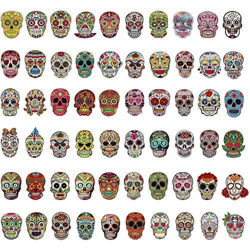 Tanersoned 240 Piezas Pegatinas Calavera Mexicana,Etiqueta para Decoracíon Día de Muertos Mexicano/Computadora Portátil/Motocicleta/Bicicleta/Monopatín