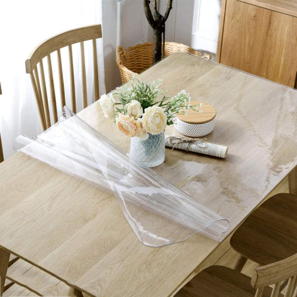 A/B Mantel Hule de Vinilo de PVC,Mantel Lavable diseño Patchwork,Mantel de PVC Anti-Quemaduras, Mantel Antideslizante Engrosado-Transparente 1.5mm_100 x 100cm