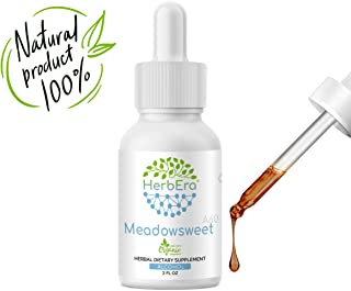 Meadowsweet A60 Alcohol Herbal Extract Tincture, Super-Concentrated Organic Meadowsweet (Filipendula Ulmaria) Dried Herb (2 fl oz)