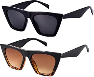 2 Pair Trendy Sunglasses for Women Square Cat Eye Style MS51801