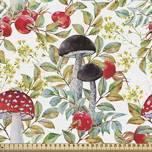 ABAKUHAUS Acuarela Tela por Metro, Escaramujo Y Amantia, Decorativa para Tapicería y Textiles del Hogar, 1M (148x100cm), Multicolor