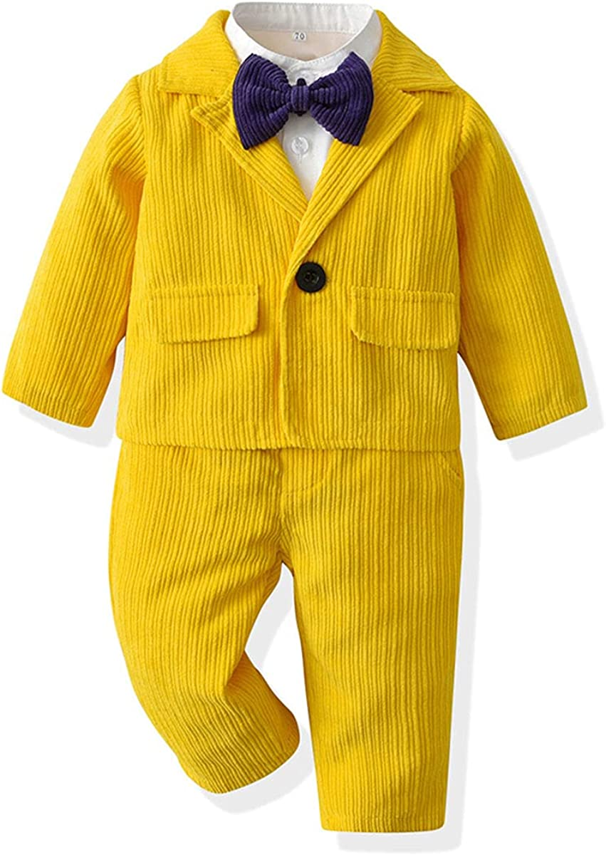 Boys Suits Toddler Kids Formal Tuxedo Outfits Corduroy Jacket+Shirt+Trousers Set