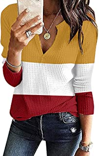 Womens V-Neck Shirts Winter Long Sleeve Waffle Knit Loose Fitting Warm Top Blouse E-Scenery