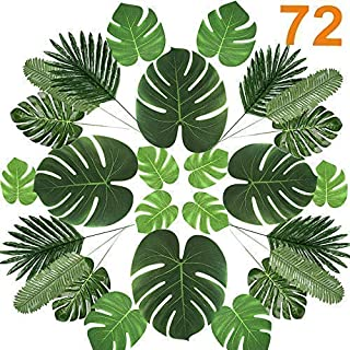 72 Pcs 6 Kinds Palm Leaves Artificial Tropical Plant Faux Leaves Safari Leaves Faux Monstera Leaves Hawaiian Luau Party Suppliers Decorations,Tiki Aloha Jungle Beach Birthday Table Leave Decorations