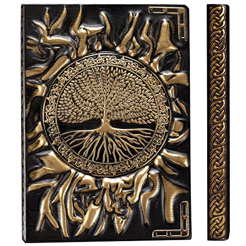 YHH Klein Notizbuch A6 Hardcover, Vintage Leder Tagebuch 200 Seiten Liniert & Blanko, Handgemachtes, Reisetagebuch Notizblock Journal Notebook Ideen für Erwachsene Kinder, 3D Lebensbaum Bronze