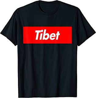 Tibet Funny Red Box Stripe Logo T-Shirt