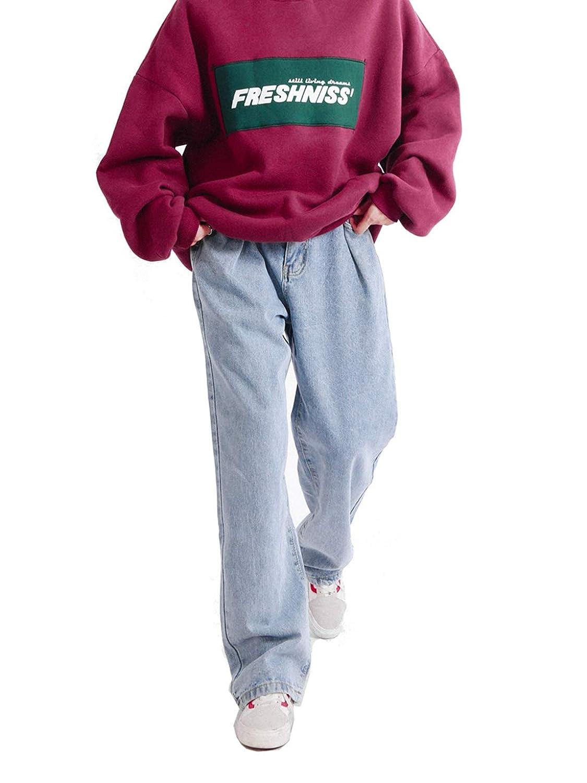 LEE FUN (リー ファン)ジーンズ 大きいサイズ レディース デニムパンツ ゆったり 動きやすい ホワイト 白 ワイド パンツ ストリート系 カジュアル ジーパン