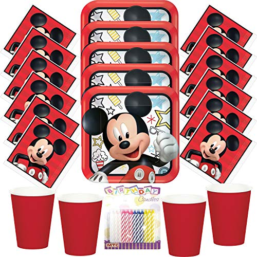 Disney Mickey On The Go Party Plates Napkins and Cups (Serves-16) with Birthday Candles - Mickey Mouse Party Supplies Pack (Bundle for 16)