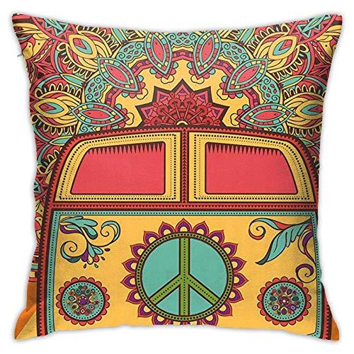 WH-CLA Pillow Cover Hippie Mini Van Ornamental Telón De Fondo Fundas De Almohada Fundas De Almohada con Cremallera Apartamento Sofá Cama Regalo Suave Decoración para El Hogar 45X45Cm Fun