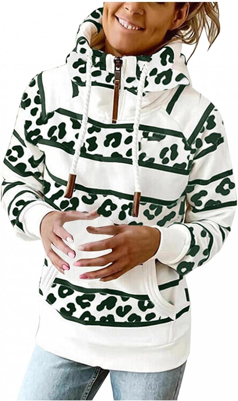 COMVALUE Womens Hoodies,Fashion Zipper Long Sleeve Striped Printed Lightweight Pullover Sweatshirts