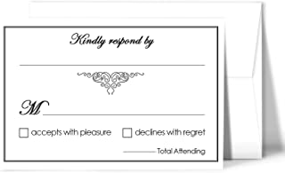 RSVP Wedding Return Cards size 4 x 6 With A6 Envelopes - 50 Per Pack