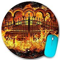 KAPANOU ラウンドマウスパッド カスタムマウスパッド、地獄の門の火、PC ノートパソコン オフィス用 円形 デスクマット 、ズされたゲーミングマウスパッド 滑り止め 耐久性が 200mmx200mm
