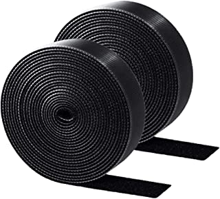 ENVEL Reusable Fastening Cable Ties,2 Rolls Adjustable Cord Ties for Cable Management Cord Organizer Straps Black 6Meter