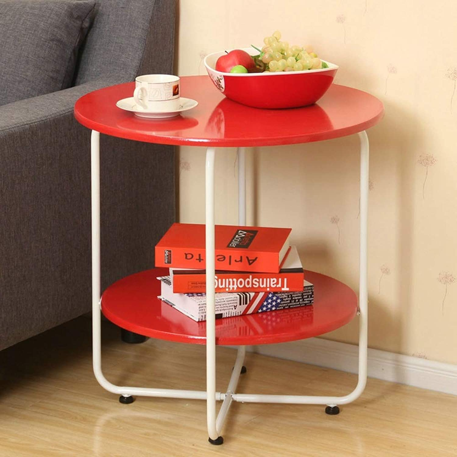 MEIDUO 2-Tier Side Table, End Table Round Coffee Table Round Side Table with Steel Legs 3 colors (color   RED, Size   45.5  45cm)