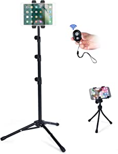 T-SIGN Reinforced IPad Tripod Stand, Floor Tablet Mount with Foldable Adjustable Height for iPad Mini, iPad Air, and More 7