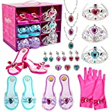 Girls Princess Toddler Dress Up Shoes Set Princess Gift Pretend Jewelry Toys Accessories Set Princess Role Play Collection Kit with Tiaras Crown Gloves Necklaces Earrings Gift for Birthday Halloween Christmas Costumes Party for 3,4,5,6 Years Old Girls and up