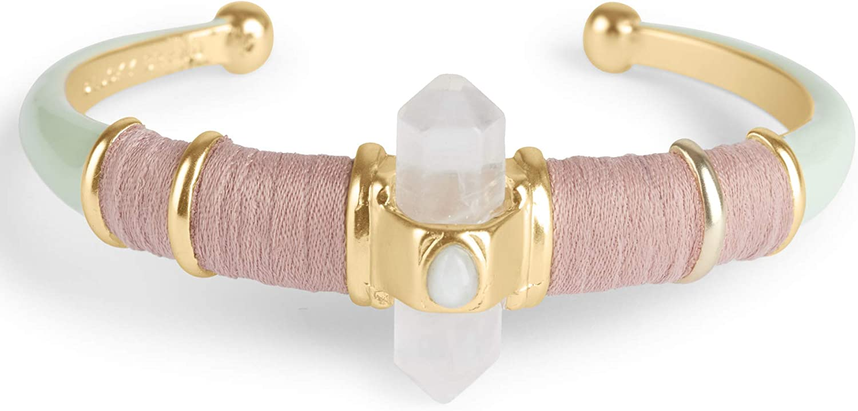 Lucky Brand Enamel Crystal Wrap Cuff Bracelet, Gold