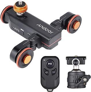 Andoer 3-Wheels Wireless Remote Control Motorized Camera Video Auto Dolly 3 Speed Adjustable with Mini Flexible Ballhead Mount Adapter for Canon Nikon Sony DSLR Camera Smartphone