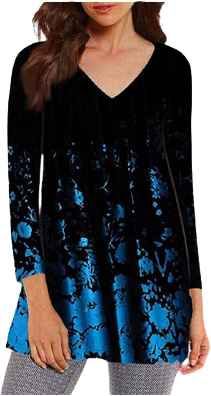 Xinantime Women's Gradient Printed Shirts 3/4 Long Sleeve V-Neck Blouse Irregular Hem Loose Tops Oversized Tees Tunic