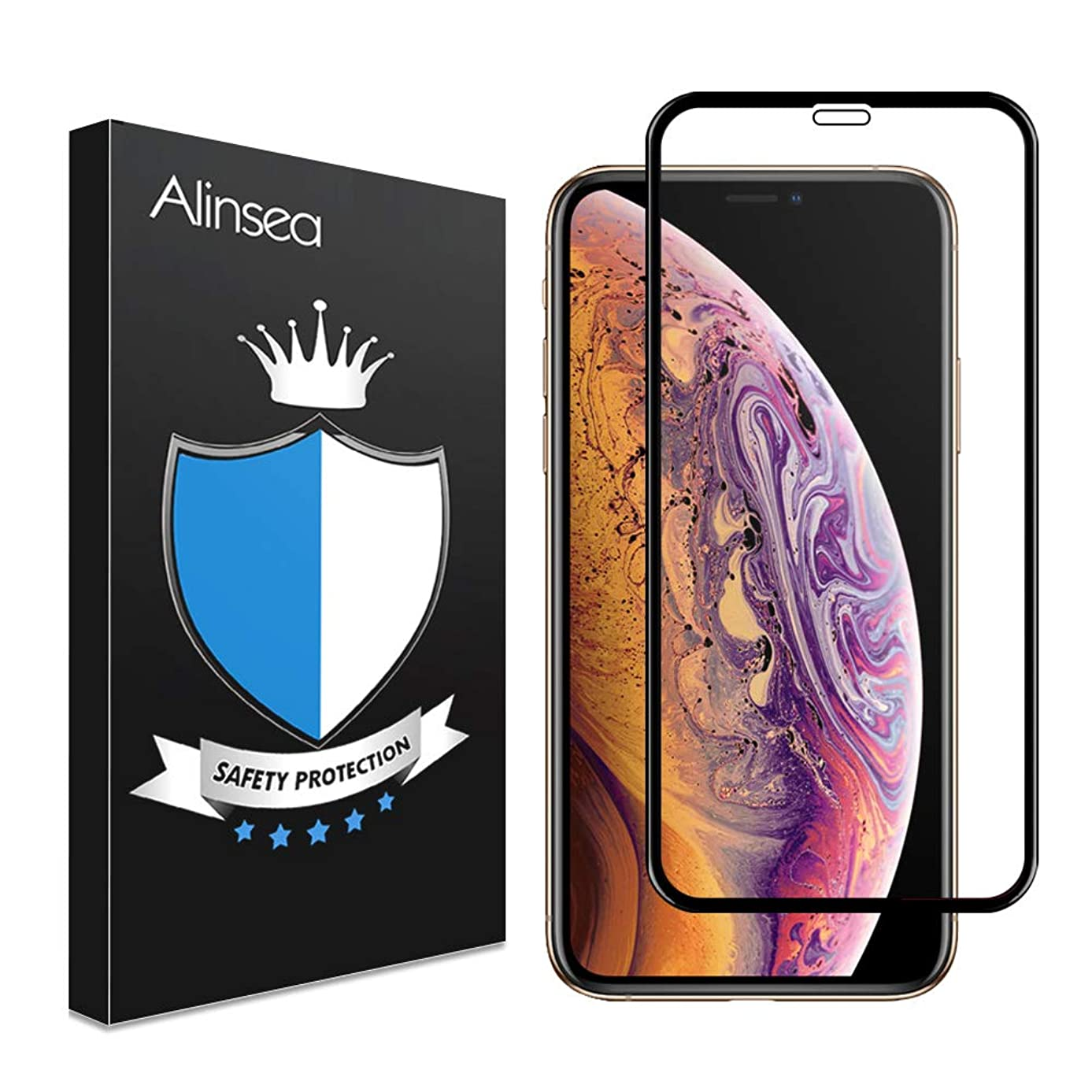 Alinsea Screen Protector Compatible for iPhone X/XS[Case Friendly, Full Coverage] 3D Tempered Glass [3D Touch Face ID Compatible] [Lifetime Replacement Warranty] Glass Protector for iPhone X/XS