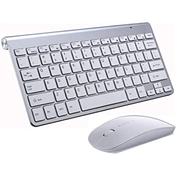 Wireless Keyboard and Mouse Combo 2.4G Portable Mini Small Keyboard Mouse Set Slim Compact for Windows Mac Laptop Notebook PC Computer Desktop Smart TV (White)
