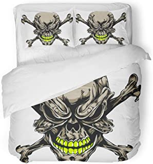 Tinmun 3pcs Duvet Cover Set Queen/Full Size Evil Tattoo Skull Scary Face Pattern Graffiti Angry Skeleton Brushed Microfiber Fabric Bedding Set Cover