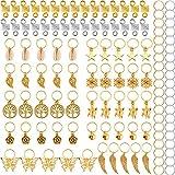 120 Piezas de Anillas de Trenza de Pelo Puños de Pelo de Metal Dreadlocks de Pelo de Cobre y Encantos Colgantes Clip de Pelo Accesorios de Diadema (Dorado)