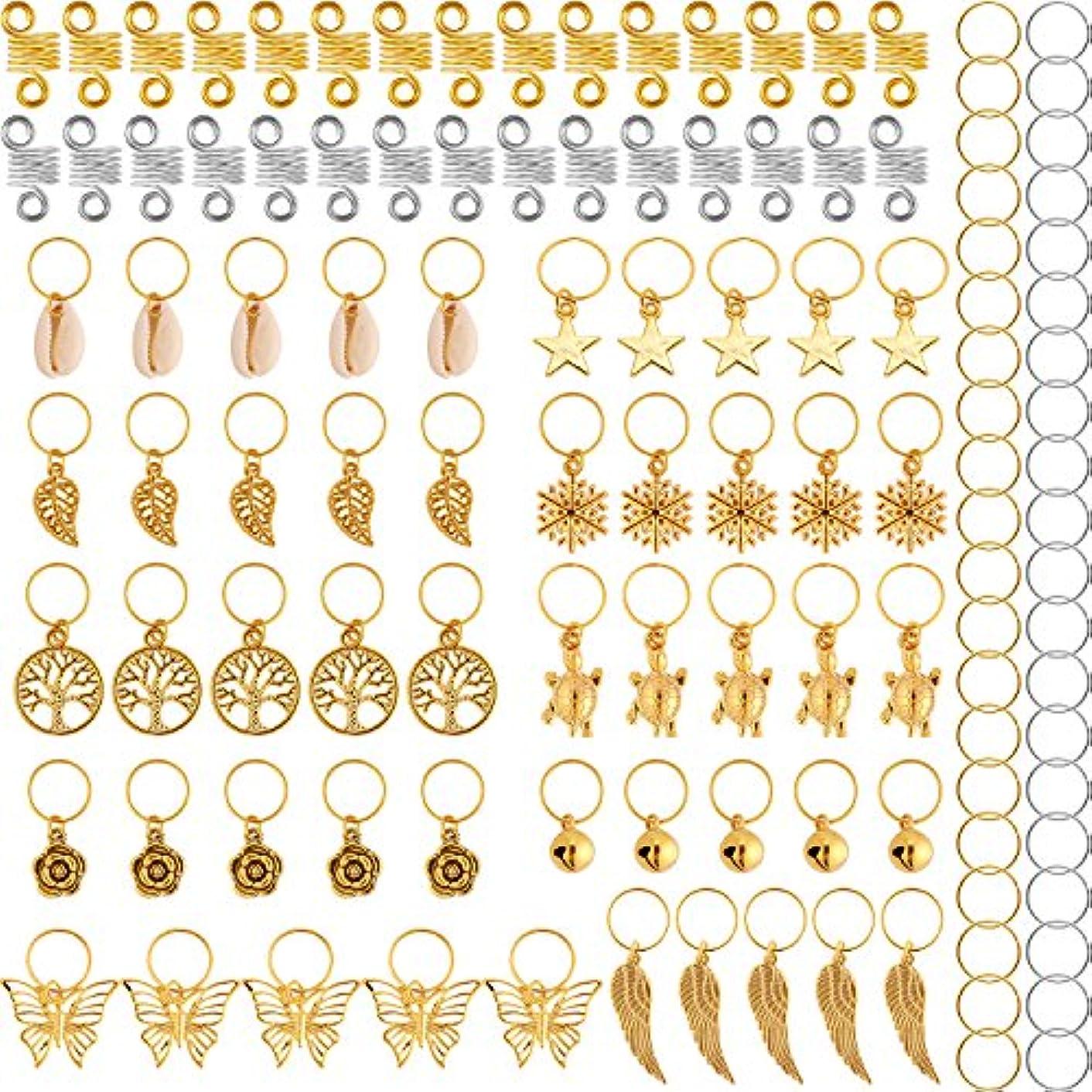 TecUnite 120 Pieces Hair Braid Rings Metal Hair Cuffs Copper Hair Dreadlocks and Pendant Charms Hair Clip Headband Accessories (Gold)