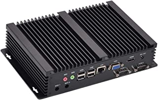 Fanless Industrial PC,Mini Computer,Windows 7/10 Pro/Linux Ubuntu,Intel Celeron 1007U,(Black),[HUNSN IM03],[64Bit/Dual Band WiFi/1VGA/1HDMI/7USB2.0/1LAN/2COM],(Barebone System)