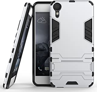 Case for HTC Desire 10 Lifestyle (5.5 inch) 2 in 1 Shockproof with Kickstand Feature Hybrid Dual Layer Armor Defender Protective Cover (Silver)