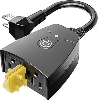 پلاگین هوشمند meross Outdoor Smart Outlet، Outdoor Wifi Outlet with 2 Grounded Outlet، Remote Control، Timer، ضد آب ، با Amazon Alexa ، Google Assistant و IFTTT ، FCC Certified کار می کند