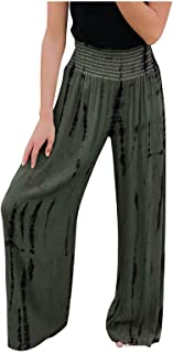 DressLksnf Baggy Hose Frauen LäSsige Elastische High-Waist Pocket Printed Wide Leg Pants Freizeithosen Damen-Bermuda Hose ...