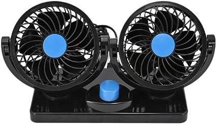 SAVEMORE4U18 DC 12V Dual Fan 360° Mini Auto Car Air Cooling Fan Cooler Adjustable: image