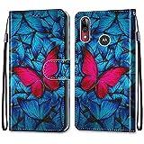 ShinyHülle für Motorola Moto E6 Plus,Lederhülle Brieftasche Handyhülle ID Kartenfächer Magnetischer Etui Protective Anti-Scratch Schutz PU Leder Hülle für Moto E6 Plus -Roter Blau Schmetterling