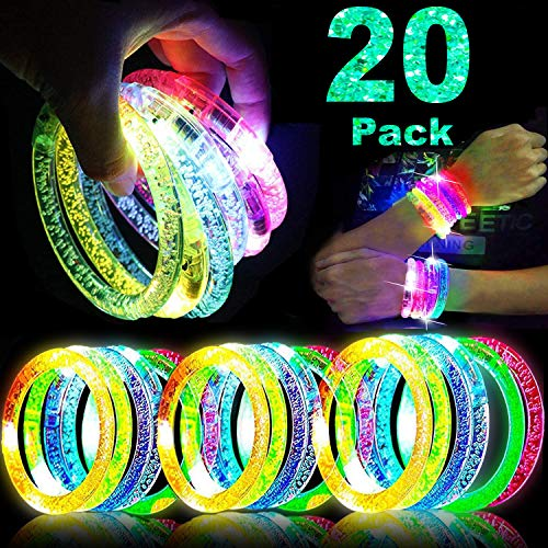 TURNMEON 20 Pack Glow Sticks Bracelet Party Supplies Glow in The Dark, LED Bracelet Light Up Toys Neon Party Favor for Carnival Birthday Wedding Dance Halloween Party Supplies Favors
