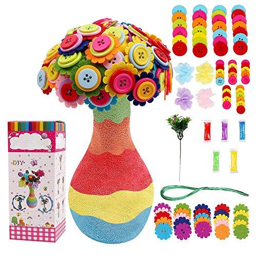 DigHealth Bastelset für Kinder, DIY Bastelset für Mädchen Jungen, DIY Vase mit Blumen, Machen Sie Ihre eigene Vase und Blumen, Blumenstrauß von Buttons und Stoff, Handwerk für Mädchen-Jungen