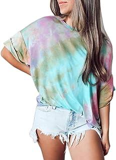 Fuyxxmer Womens Tie Dye Hoodie Sweatshirt Long Sleeve V Neck Casual Loose Gradient Color Block Blouse Tops Shirts