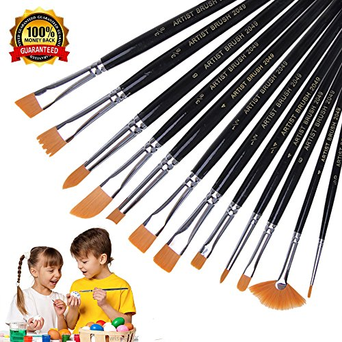 Paint Brushes Artist Brushes 12pcs Acrylic Art Brushes Set for Art Painting, Acrylic Watercolor Oil, Miniature Painting