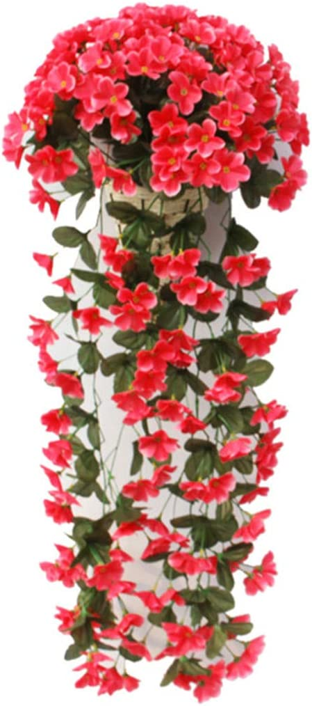 NIBESSER Hanging Flowers Plants,Artificial Violet Flower DIY Garland Hanging Flowers Wall Wisteria Basket Simulation Rattan Plant for Wedding Decorations Home Garden Party Decor(Rose Red 1pcs)