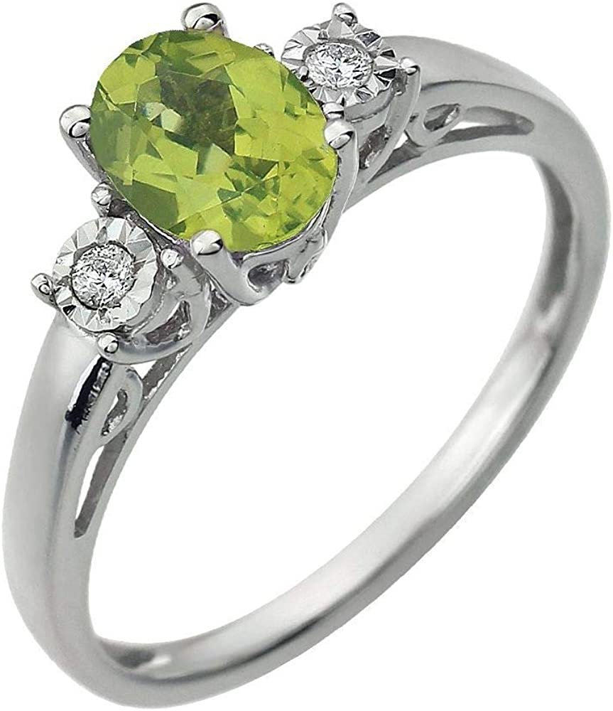 Solid 14k White Gold Peridot and .04 Cttw Diamond Ring Band (Width = 11.3mm)