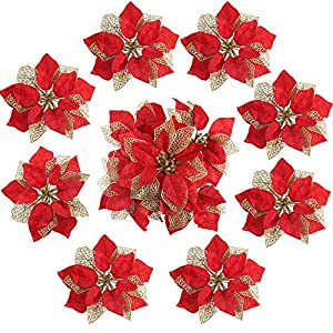 MHMJON 15 Pcs Glitter Artificial Flowers Silk Fake Red Poinsettia Flower Christmas Decorations Home Xmas Tree Wreaths Party Decoration Ornaments Accessories Supplies